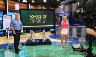 Martin Hall on set at the Golf Channel with Blair O'Neal