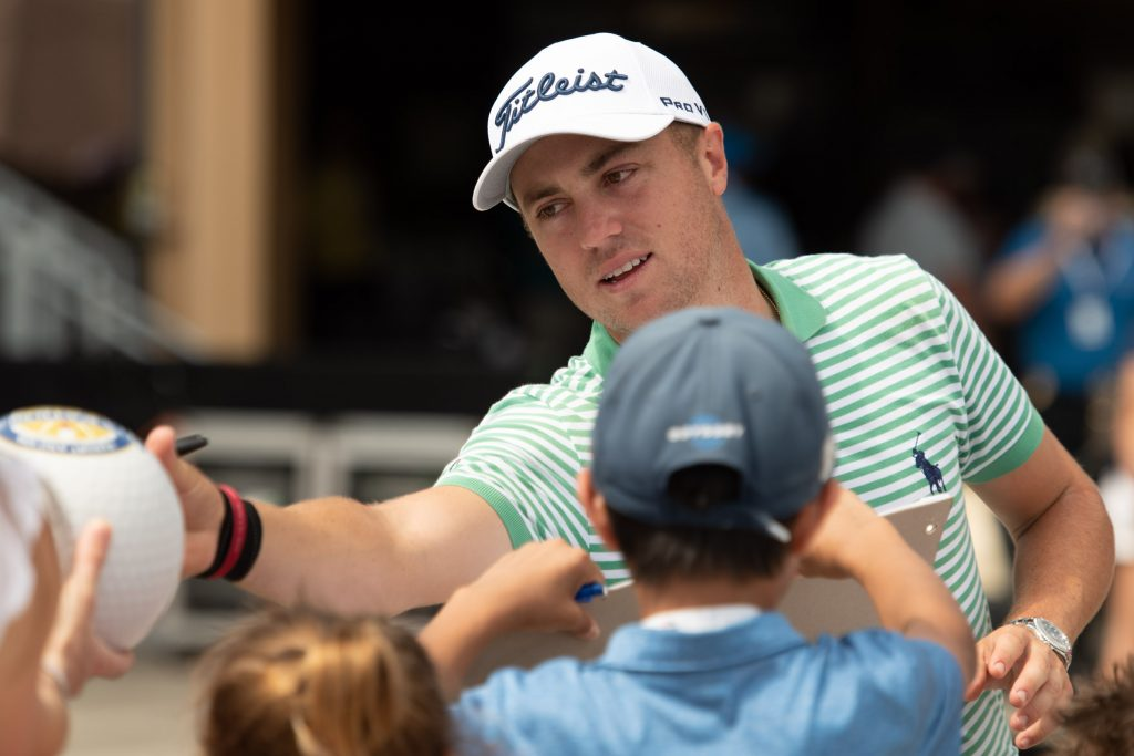 Justin Thomas greets fans